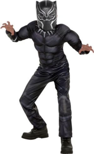 Boys Black Panther Muscle Costume
