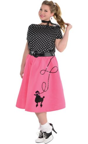 Adult 50s Flair Poodle Skirt Costume Plus Size Party
