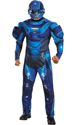 Adult Blue Spartan Muscle Costume Plus Size - Halo