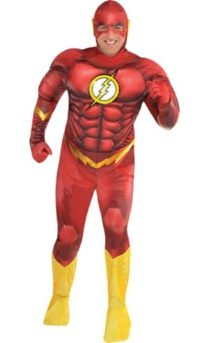 Adult The Flash Muscle Costume Plus Size - DC Comics New 52