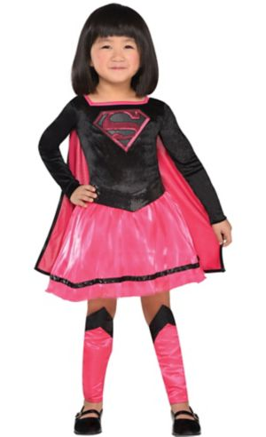 Toddler Girls Pink Supergirl Dress Costume - Superman