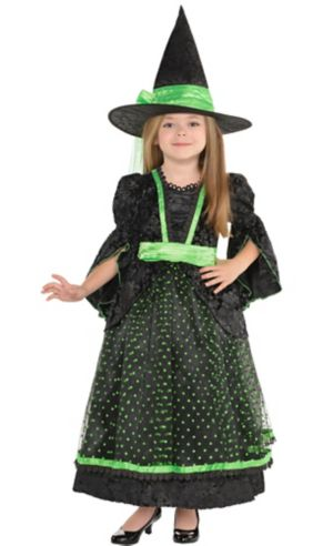 Little Girls Fancy Black & Green Witch Costume
