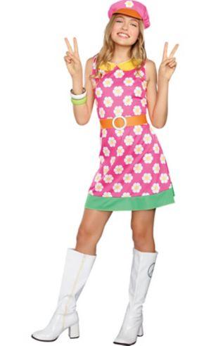 Girls Girly A Go-Go Flower Power Costume