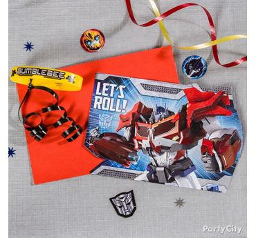 Transformers Invite with Favor Idea