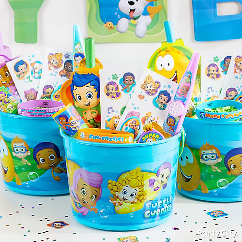 Bubble guppies favor bucket idea party city - Bubble guppie birthday ideas ...