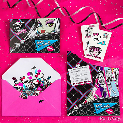 Monster High Invitations with Surprise Idea Party City – Tattoo Party Invitations