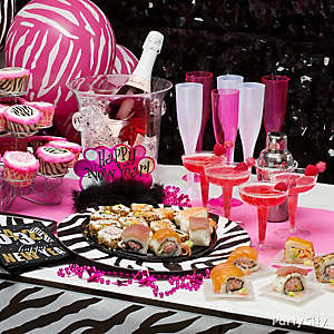 NYE Pink and Black Menu Ideas