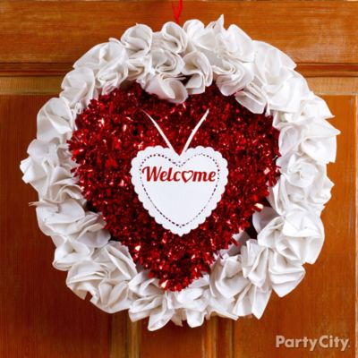 DIY Valentines Tinsel Paper Napkin Wreath Idea