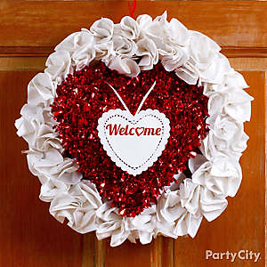 DIY Valentine's Day Tinsel Paper Napkin Wreath Idea