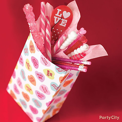 Valentine's Day Candy Favor Bag Idea