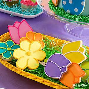 Easter Flower Cookie Pops Idea