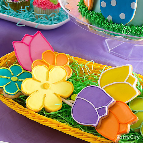 Easter Flower Cookie Pops Idea