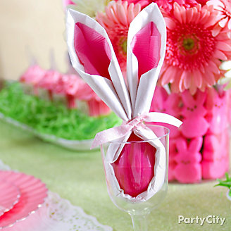 Easter Bunny Ear Napkin and Egg How To