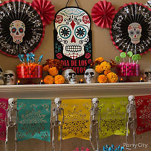 Day of the Dead Sugar Skull Fans & Paper Garland DIY