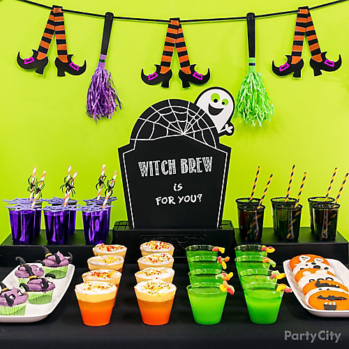 Kid-Friendly Halloween Drinks Table Idea