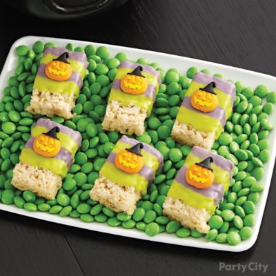 Witch's Crew Jack-o'-Lantern Crispy Rice Bars How To