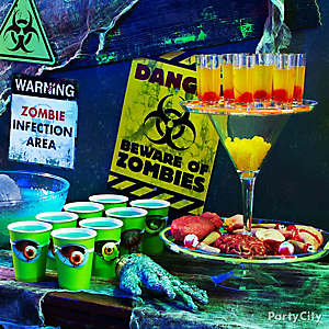 display your zombie tonics on a platter of faux finger food - Zombie Party Supplies