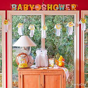 Jungle Theme Baby Shower Window Decorating Idea
