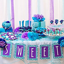 Purple and Blue Candy Buffet Ideas