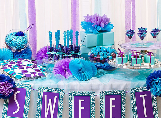 Blue Party Decorating Ideas purple and blue candy buffet ideas - bridal shower ideas - special