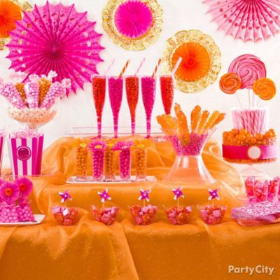 DIY Doily Fan Decorations Idea Pink And Orange Candy