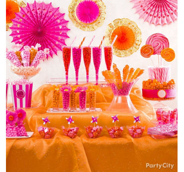 Pink Orange Candy Buffet Display Idea
