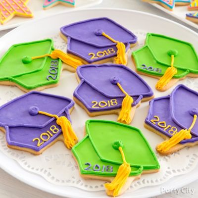 Colorful Grad Cap Cookies Idea