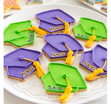 Colorful Grad Cap Cookies Idea