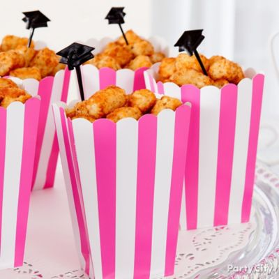 Pink and Grad Cap Tater Tots Box Idea