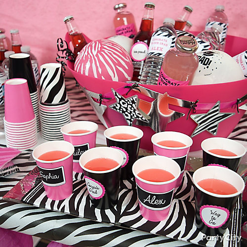 Pink and Zebra Print Drink Station Idea