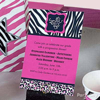 Pink & Zebra Grad Crawl Custom Invite Idea