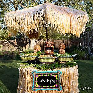 Raffia Luau Buffet Table Idea