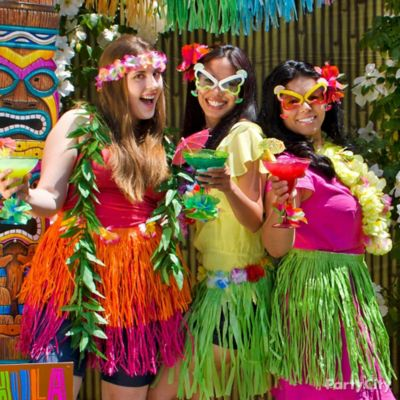 Luau Dress Up Favors Display Idea - Totally Tiki Luau Party Ideas ...