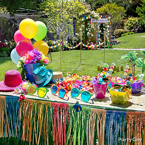 Luau dress up favors display idea totally tiki luau for How to make luau decorations at home
