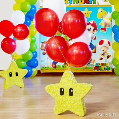 Super Mario Star Pinata with Balloons