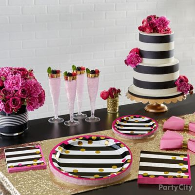Pink Black and Gold Table Setting Idea