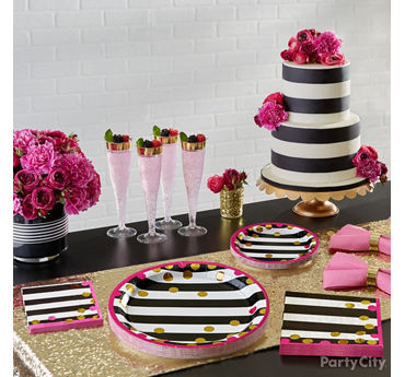 Pink Gold and Stripes Bridal Shower Ideas - Party City | Party City