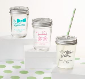 Generic Baby Personalized Baby Shower Mason Jars with Daisy Drink Lids (Printed Glass)