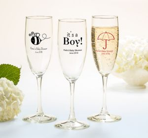 Baby Boy Personalized Baby Shower Champagne Flutes (Printed Glass)