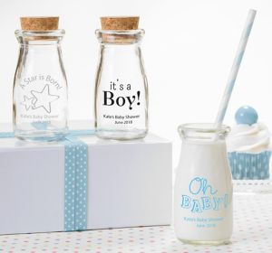 Baby Boy Personalized Baby Shower Glass Milk Bottles (Printed Glass)
