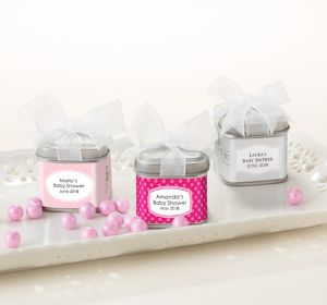 Baby Girl Personalized Baby Shower Favor Tins with Bows (Printed Label)