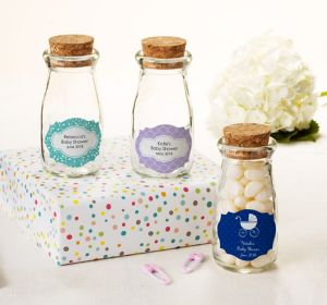 Baby Girl Personalized Baby Shower Glass Milk Bottles with Corks (Printed Label)