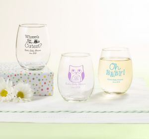 Gender Neutral Personalized Baby Shower Stemless Wine Glasses 9oz (Printed Glass)