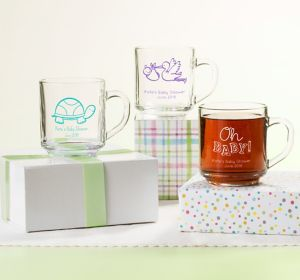 Gender Neutral Personalized Baby Shower Glass Coffee Mugs (Printed Glass)