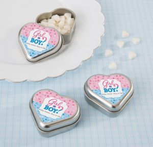 Girl or Boy Personalized Gender Reveal Heart-Shaped Mint Tins with Candy (Printed Label)