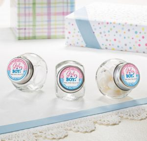 Girl or Boy Personalized Gender Reveal Glass Candy Jars (Printed Label)