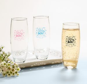 Girl or Boy Personalized Gender Reveal Stemless Champagne Flutes (Printed Glass)