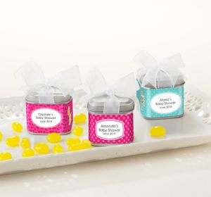 Fisher-Price Jungle Personalized Baby Shower Favor Tins with Bows (Printed Label)