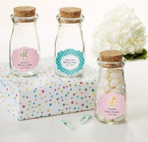 Fisher-Price Jungle Personalized Baby Shower Glass Milk Bottles with Corks (Printed Label)