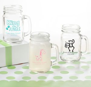 Fisher-Price Jungle Personalized Baby Shower Mason Jar Mugs (Printed Glass)